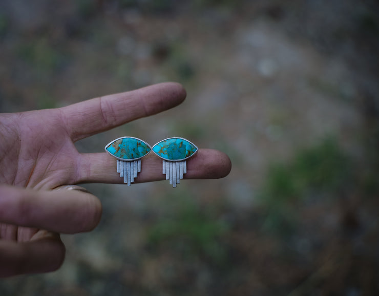 Third Eye Earrings. Turquoise posts.