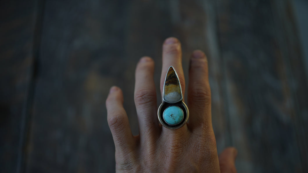 Arrowhead Ring. 6.5 WIDE BAND. Turquoise + Desert Agate. Reclaimed sterling silver + Gold fill
