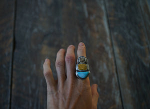 The High Seas Rings. Turquoise Fox Mine + Ocean Jasper +Dendritic Agate. Reclaimed sterling silver.