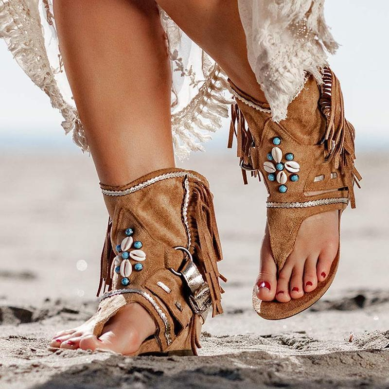 Women's Bohemian Fringed Toe Flat Sandals