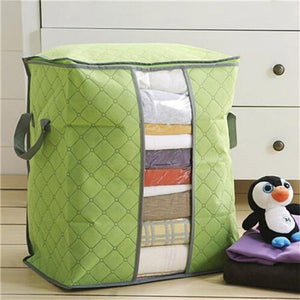Charcoal Bamboo Blanket Storage Bag Organizer Foldable Zipper | Home & Kitchen | Green