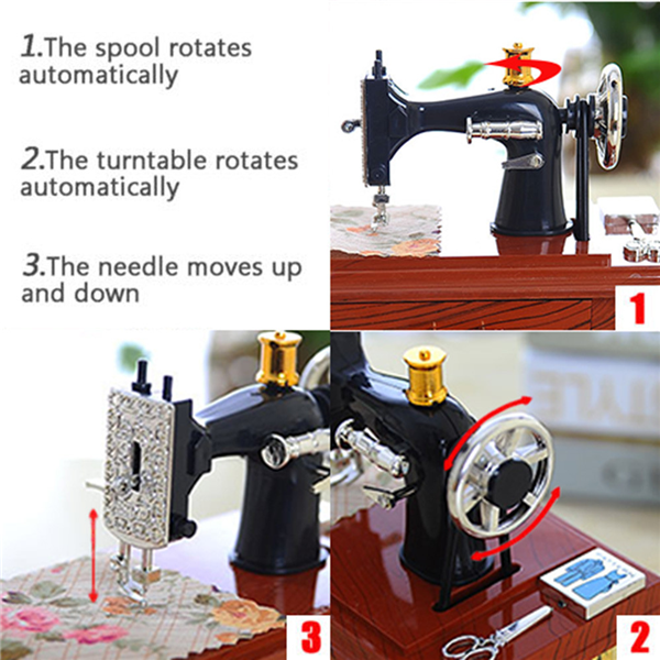 Last Day Promotion & 50% OFF - Wood Mini Sewing Machine Music Box