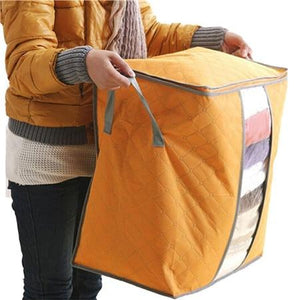 Charcoal Bamboo Blanket Storage Bag Organizer Foldable Zipper | Home & Kitchen | Orange