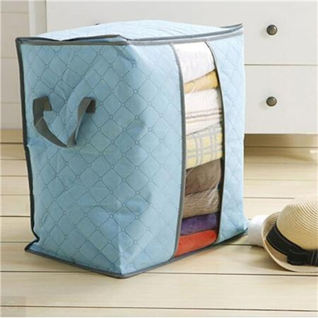 Charcoal Bamboo Blanket Storage Bag Organizer Foldable Zipper | Home & Kitchen | Blue