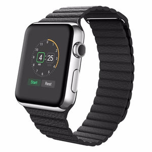 Magnetic Leather Loop Apple Watch Strap | Apple Watch | Black