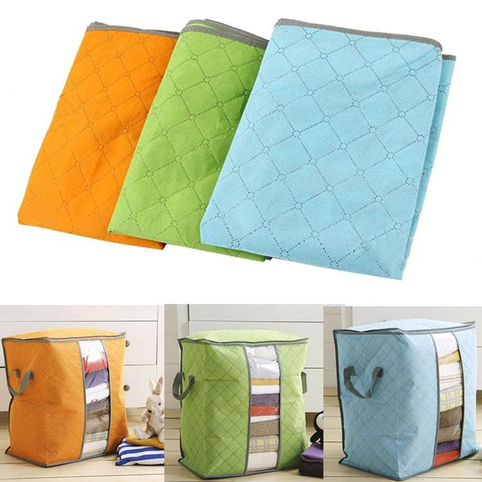 Charcoal Bamboo Blanket Storage Bag Organizer Foldable Zipper | Home & Kitchen | [option1]