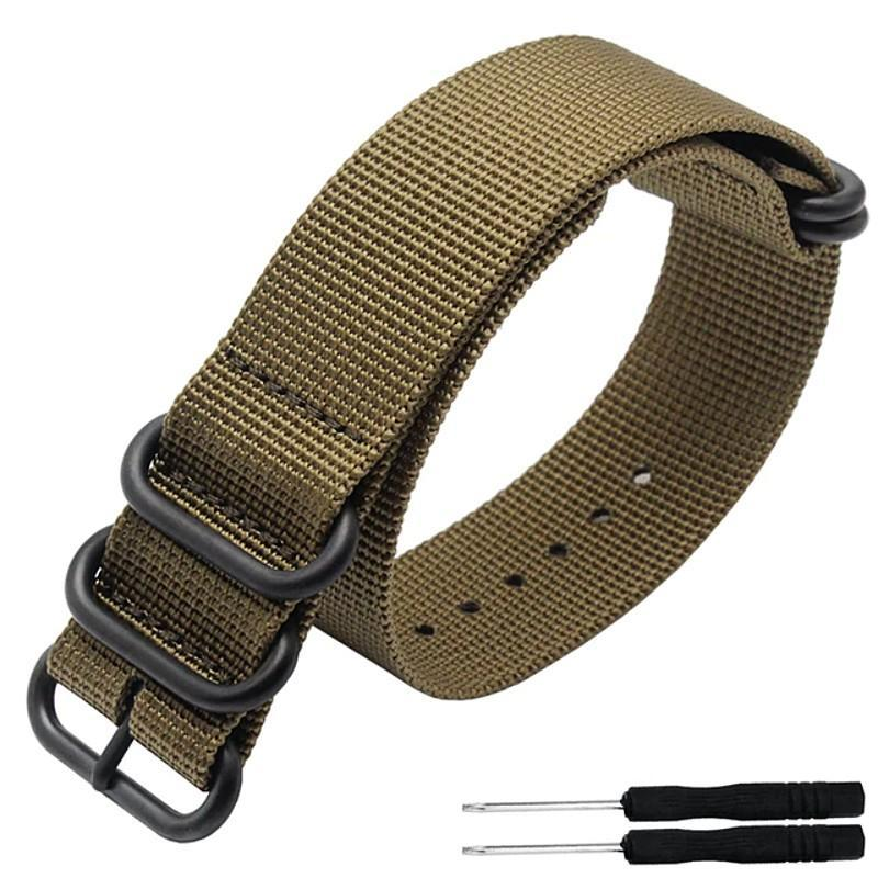 5 Ring Nylon Garmin Fenix 3HR/5/5s/5x Strap | Garmin Watch Strap | Khaki + Black