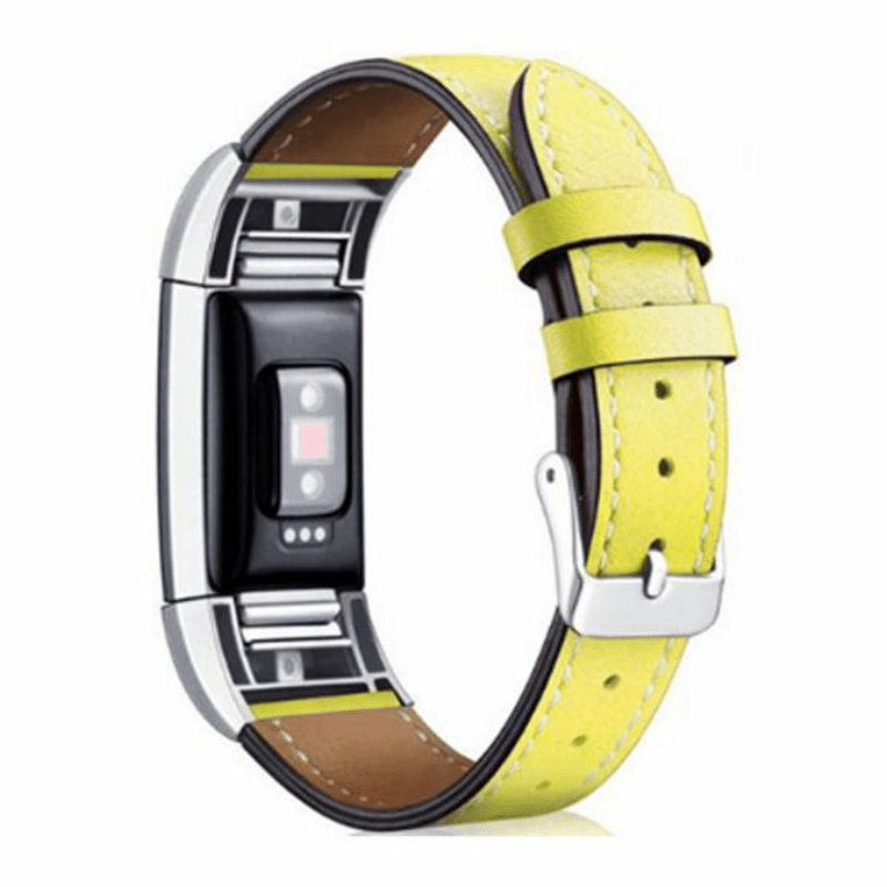 Deluxe Handcrafted Leather Fitbit Charge 2 Strap | Fitbit Charge 2 | Yellow