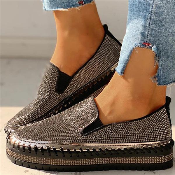 Tinpudding Women Casual Fashion Rhinestone Slip-on Loafers/ Sneakers