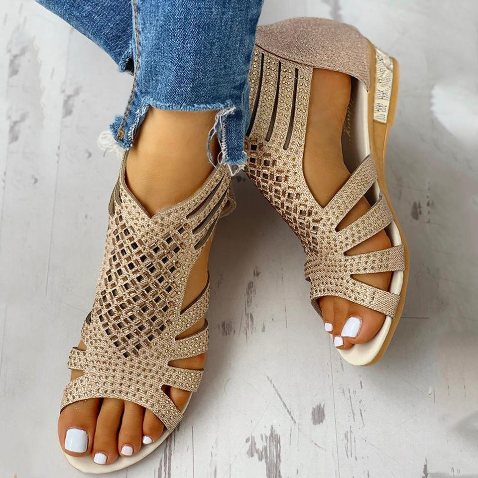 Crazefad Studded Hollow Out Flat Sandals