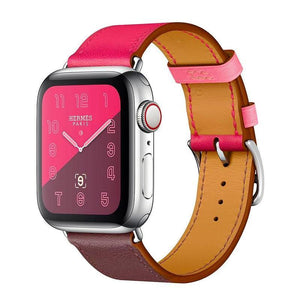 Leather Single Tour Apple Watch (Series 1-4) Strap | Apple Watch | Rose Pink Maroon