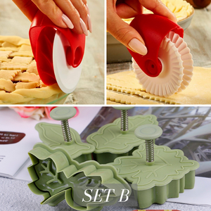 Decorating Plunger and Pastry Wheel Cutter Set | [product_type] | Set B - 2 Rollers + Plunger