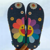 Colawings Colorful Smile Sunflower Emblished Beach Slides