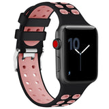 2 Tone Breathable Silicone Sport Apple Watch Strap | Apple Watch | Black Pink