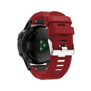 Silicone Sports Garmin Fenix 3/5X/5X Plus Strap | Garmin Watch Strap | Deep red
