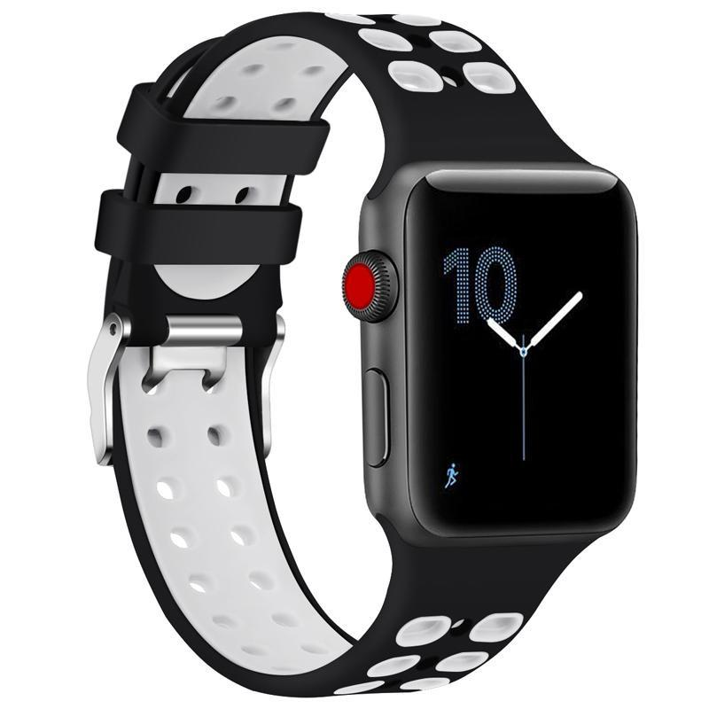 2 Tone Breathable Silicone Sport Apple Watch Strap | Apple Watch | Black White