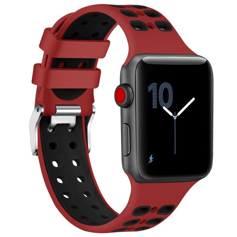 2 Tone Breathable Silicone Sport Apple Watch Strap | Apple Watch | Red Black