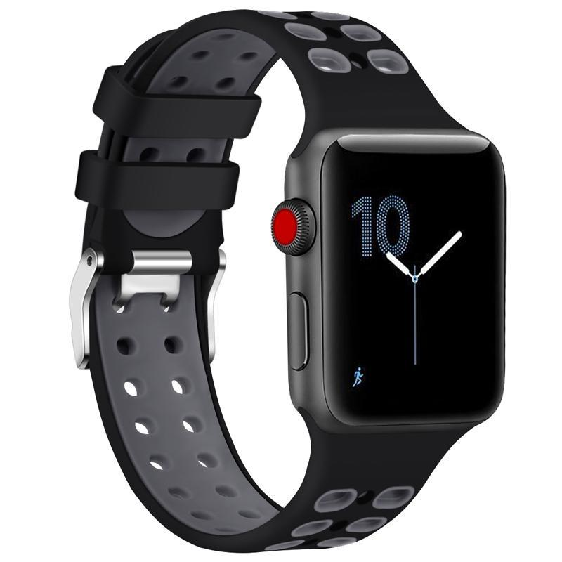2 Tone Breathable Silicone Sport Apple Watch Strap | Apple Watch | Black Gray