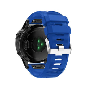 Silicone Sports Garmin Fenix 3/5X/5X Plus Strap | Garmin Watch Strap | Pin blue