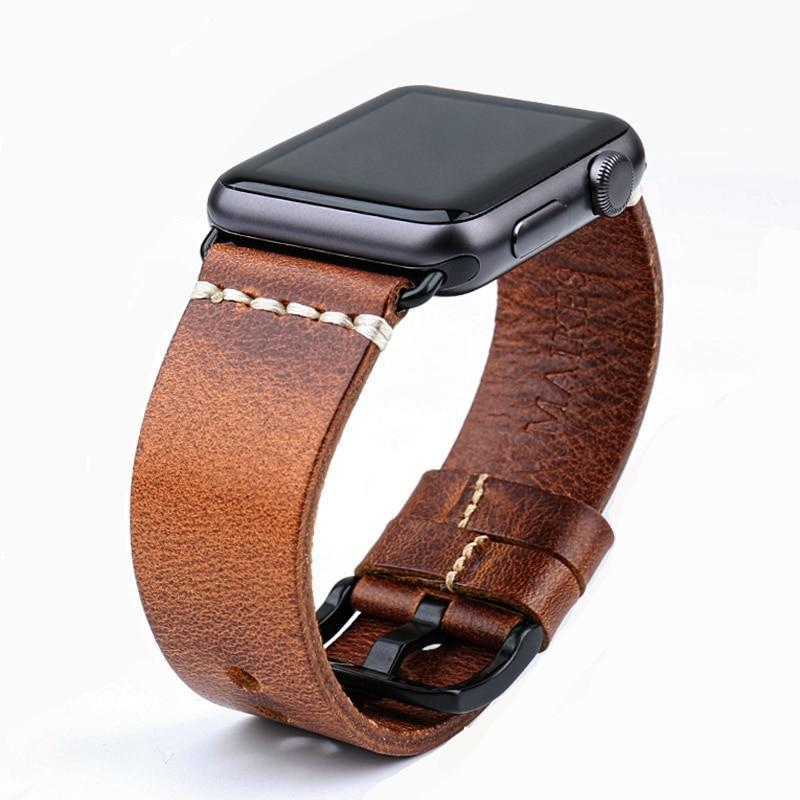 Vintage Collection - Vintage Oil Waxed Leather Apple Watch Strap (Series 1-4) | Apple Watch Strap | Brown + Black