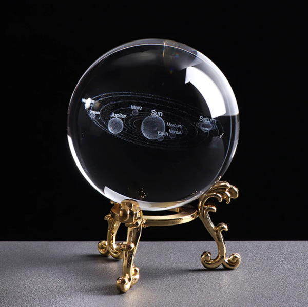 Crystal Ball 3D Solar System | [product_type] | w/Gold Base