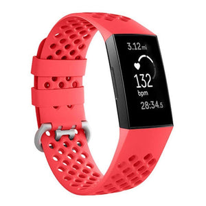 Breathable Silicone Fitbit Charge 3 Strap | Fitbit Charge 3 Strap | Red