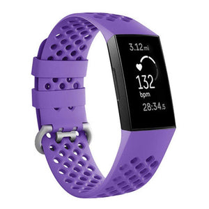 Breathable Silicone Fitbit Charge 3 Strap | Fitbit Charge 3 Strap | Purple