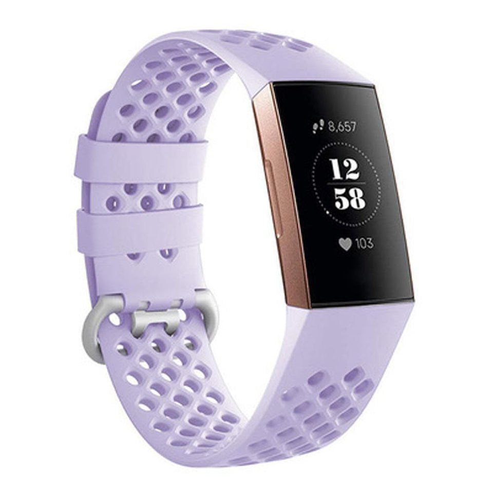 Breathable Silicone Fitbit Charge 3 Strap | Fitbit Charge 3 Strap | Lavender Purple