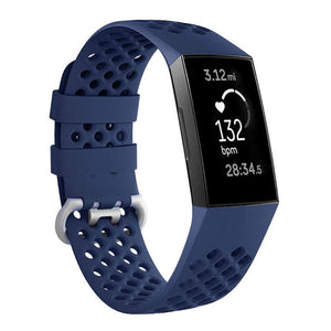 Breathable Silicone Fitbit Charge 3 Strap | Fitbit Charge 3 Strap | Midnight Blue