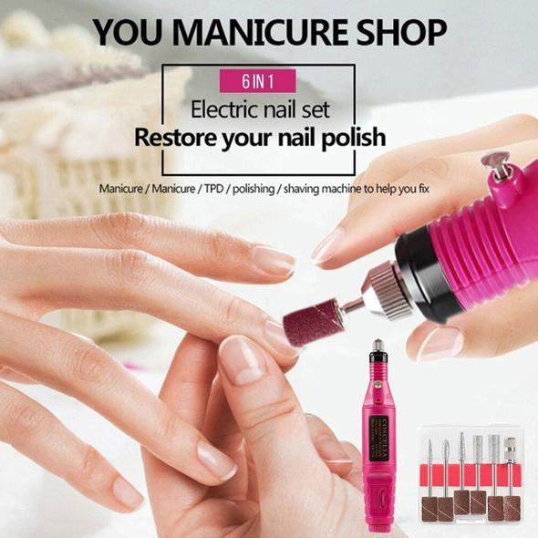 Portable Electric Nail Polisher - Free Gift Six Polish Head Set