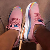 Vickymoda Lace-Up Round Toe Low-Cut Upper Color Block Sneakers