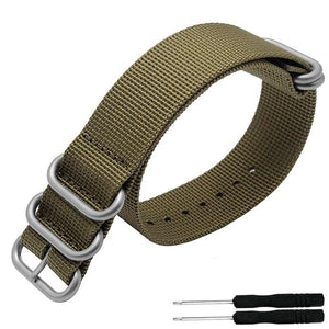5 Ring Nylon Garmin Fenix 3HR/5/5s/5x Strap | Garmin Watch Strap | Khaki + Stainless Steel
