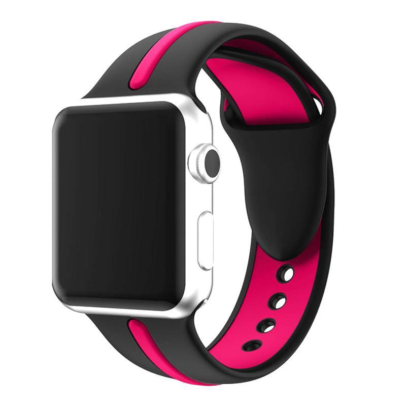 Sports 2 Tone Apple Watch Strap | Apple Watch | Black Rose red
