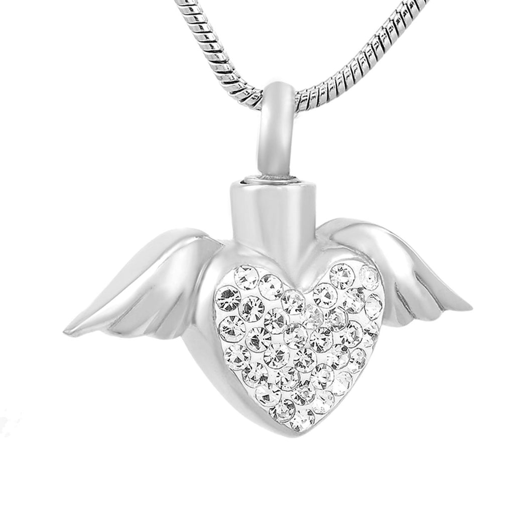 Angel Wings Holding Heart | Urn Jewelry | Urn Necklace | Clear