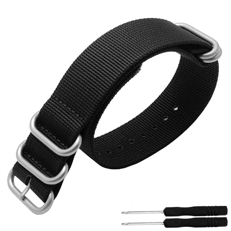 5 Ring Nylon Garmin Fenix 3HR/5/5s/5x Strap | Garmin Watch Strap | Black + Stainless Steel