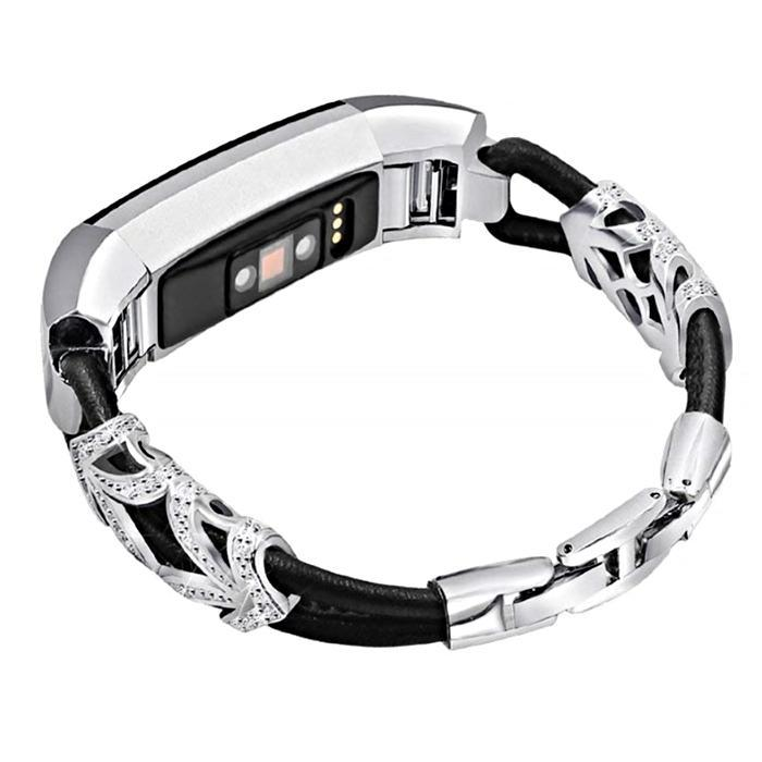Rhinestone Leather Bracelet Fitbit Alta/Alta HR Strap | Fitbit Alta Strap | [option1]