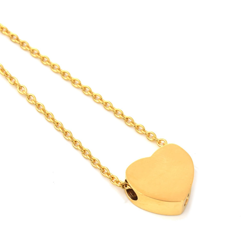 Mini Heart | Urn Jewelry | Urn Necklace | Gold