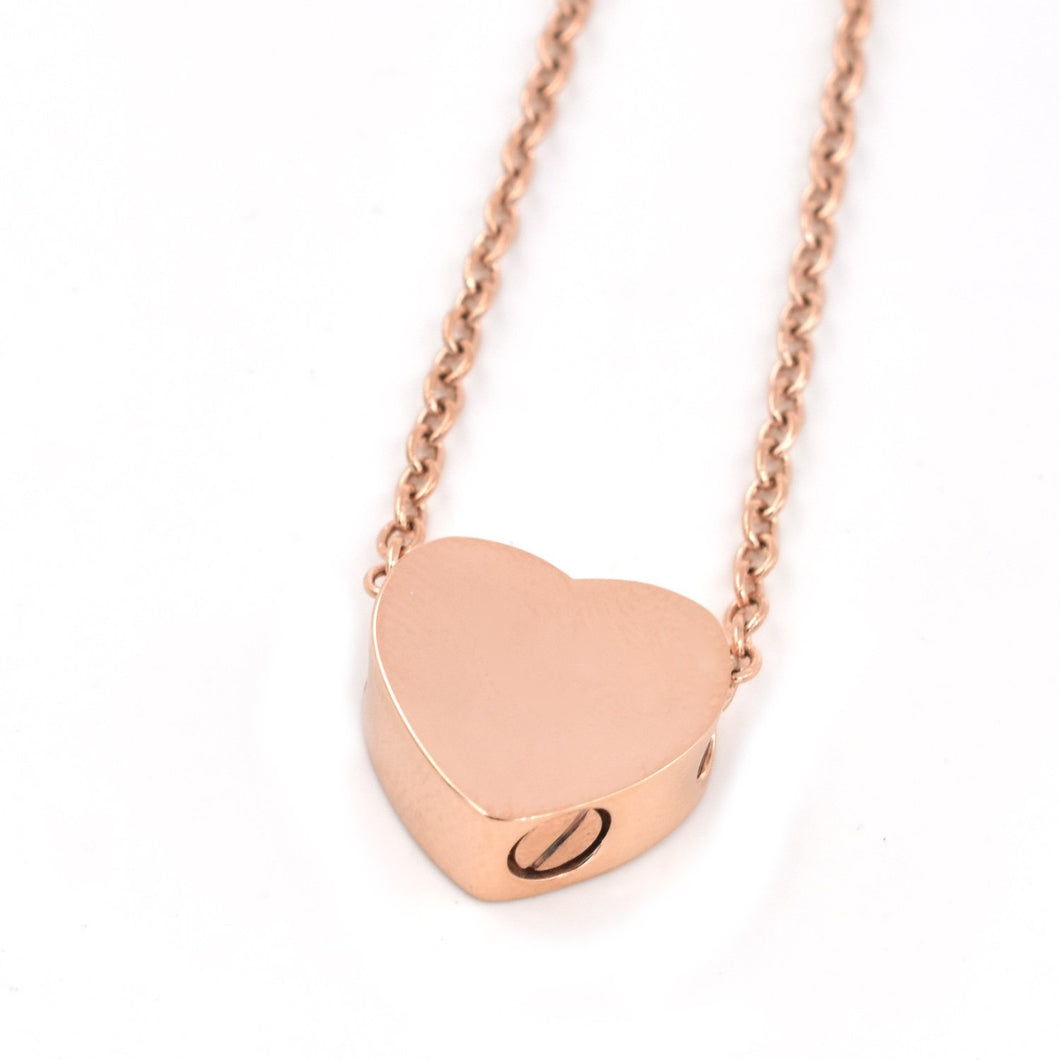 Mini Heart | Urn Jewelry | Urn Necklace | Rose Gold