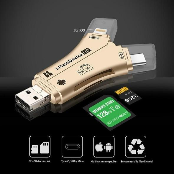 Versatile High Speed 4 in 1 SD Card Reader For All Devices