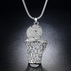 Iced Out Basketball Hoop Pendant & Chain