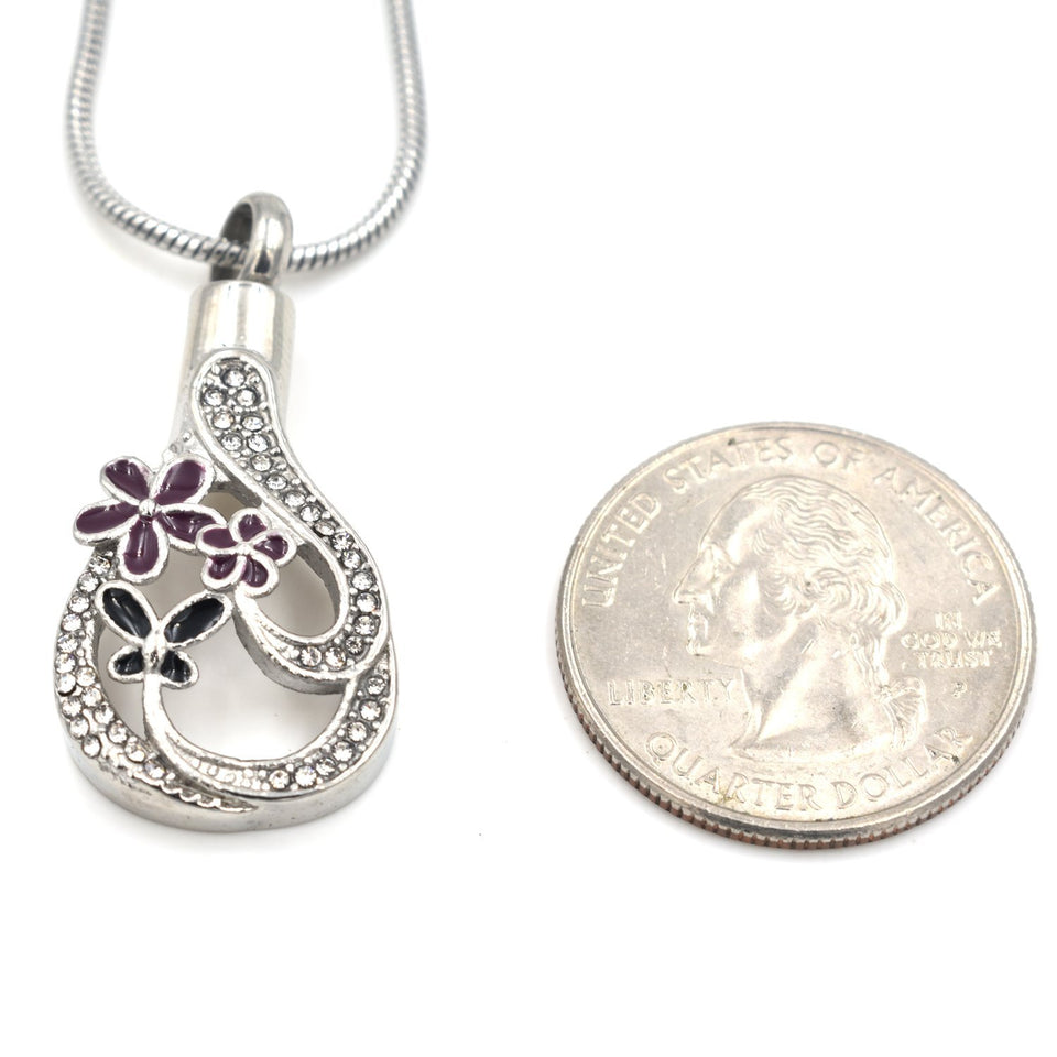 Purple Flower Teardrop | Urn Jewelry | Urn Necklace | [option1]