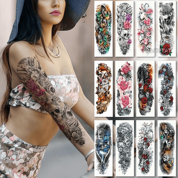 Edgy Fake Tattoo Sleeve | Temporary Tattoos | [option1]