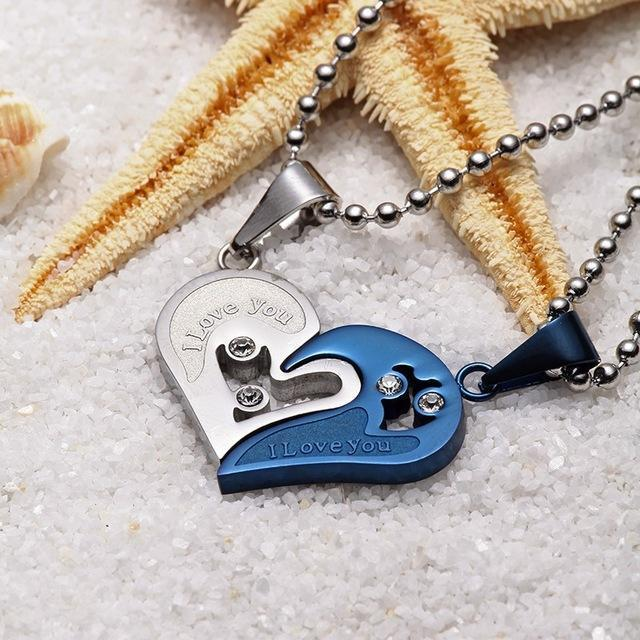 Stainless Steel Love Necklace | Pendant Necklaces | Blue