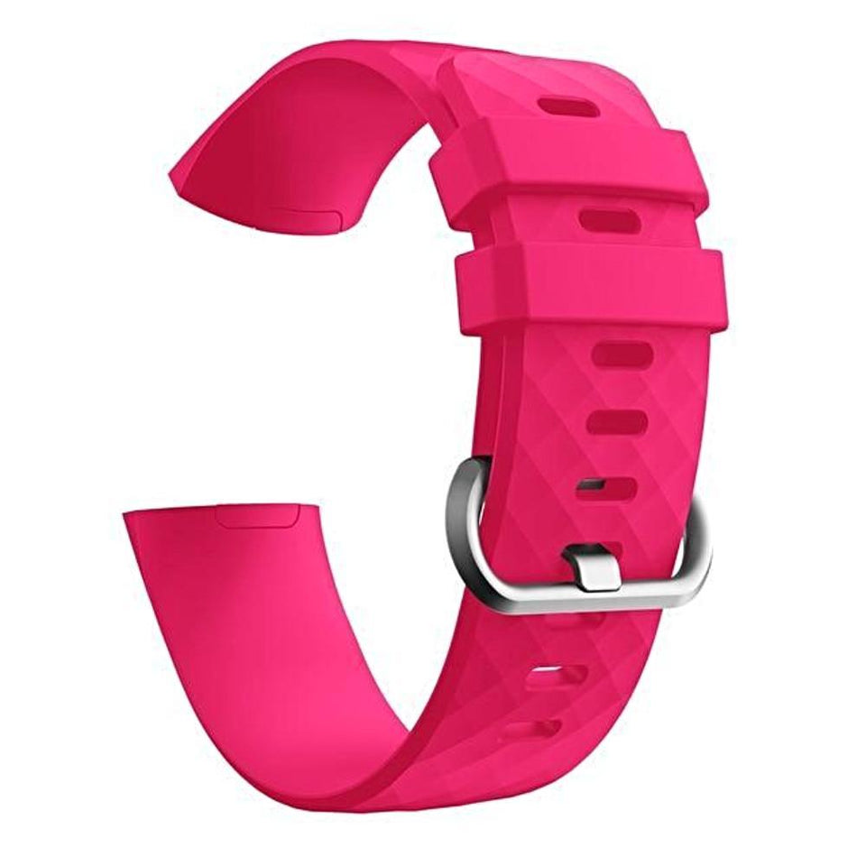 Silicone Sports Fitbit Charge 3 Strap | Fitbit Charge 3 Strap | Hot Pink
