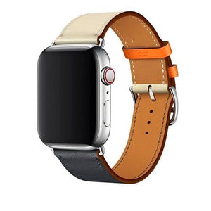 Leather Single Tour Apple Watch (Series 1-4) Strap | Apple Watch | Beige Black Orange
