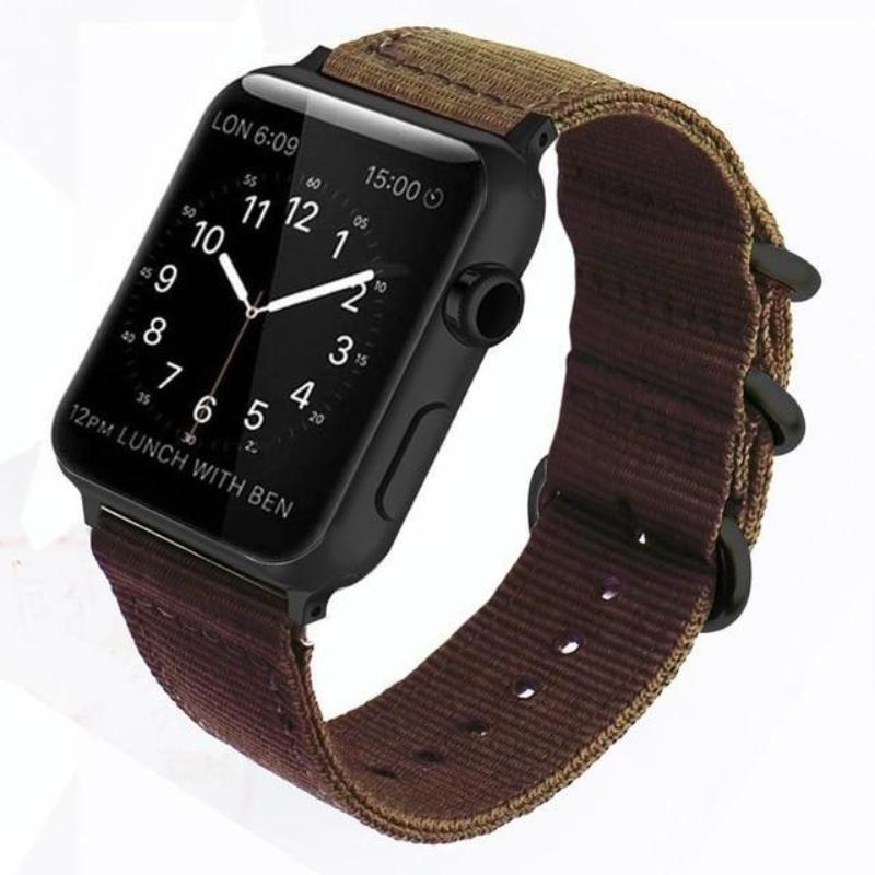 Double Buckle Nylon Apple Watch Strap | Apple Watch Strap | Coffee