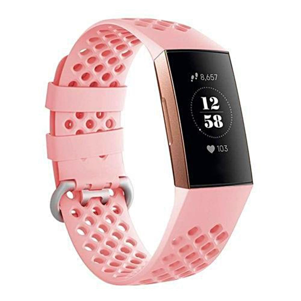 Breathable Silicone Fitbit Charge 3 Strap | Fitbit Charge 3 Strap | Pink