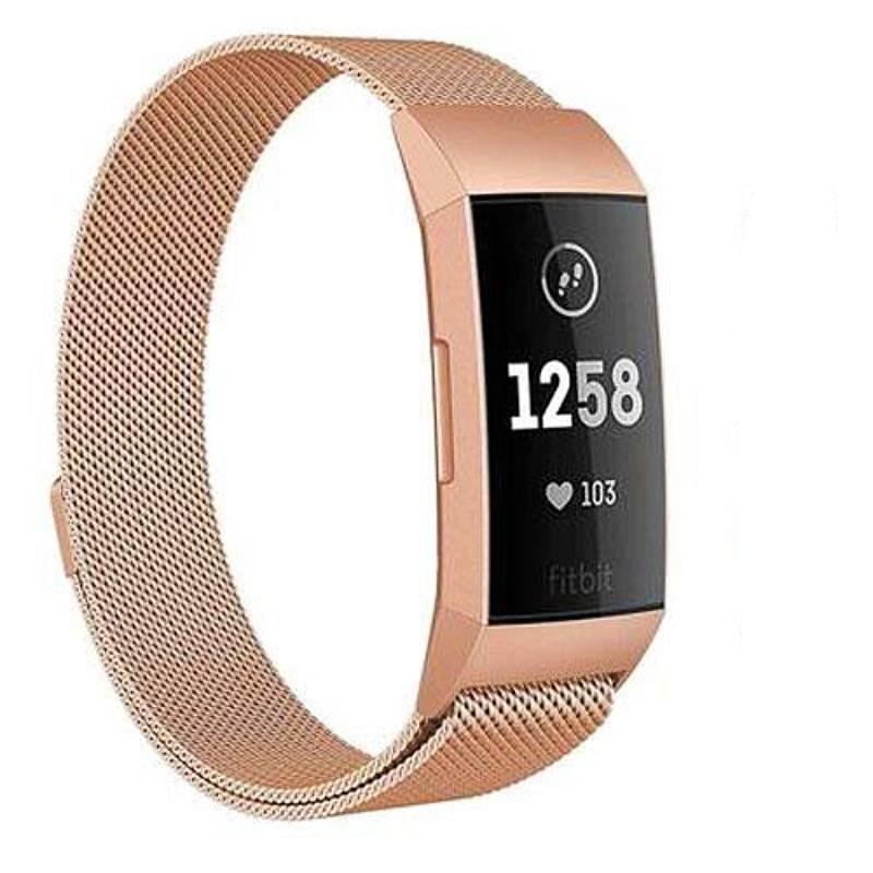 Milanese Stainless Steel Fitbit Charge 3 Strap | Fitbit Charge 3 Strap | Rose Gold