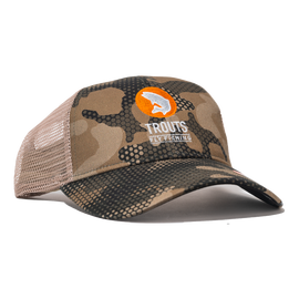 Trouts x Simms Trucker Hat - Hex Flo Camo Timber