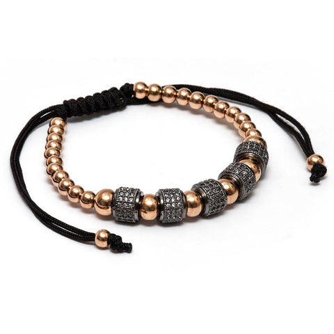 Lynx Rose Gold Crystal Beaded Bracelet - Ouro Goods